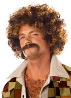 Adult Disco Dirt Bag Wig & Moustache [70034]