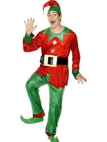 Adult Elf Costume Green Red Costume