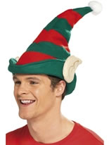 Elf Hat Green With Red Stripes