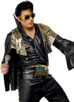 Adult Elvis Costume Black and Gold