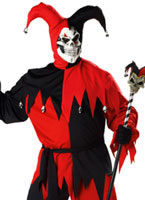 Adult Evil Jester Costume Red and Black (FC)