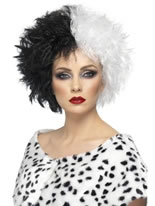 Evil Madam Wig Half Black And Half White [42117]