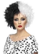 Evil Madam Wig Half Black And Half White [42117]