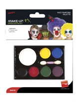 Face Painting Palette White Yellow Blue Black Red Green Purple