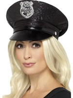 Fever Black Sequin Police Hat [46988]