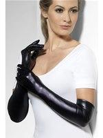 Fever Black Wet Look Gloves [44039]