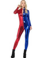 Fever Miss Harlequin Whiplash Catsuit Costume