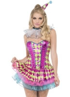 Adult Fever Neon Harlequin Clown Costume