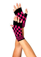 Fingerless Checkerboard Gloves