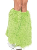 Green Furry Leg Warmers