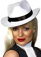 Gangster Hat White Velour Silk [25981]