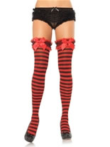 Garter Top Striped Thigh Highs [6316]