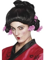 Geisha Girl Wig With Pink Flowers [42129]