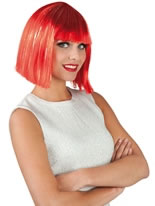 Glamour Wig Red & Silver