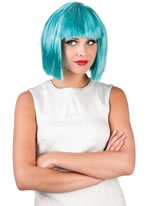 Glamour Wig Turquoise & Silver