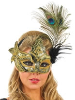 Gold and Black Peacock Feather Mask