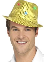 Gold Light Up Sequin Trilby Hat