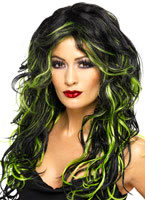 Adult Black & Green Gothic Bride Wig