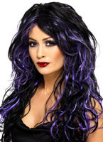 Adult Black & Purple Gothic Bride Wig [35683]
