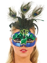 Green and Blue Peacock Feather Mask