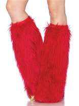Red Furry Leg Warmers [3934R]