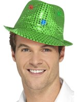 Green Light Up Sequin Trilby Hat [47064]