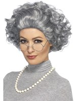 Grey Granny Wig Kit with Glasses and Necklace