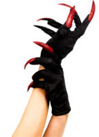 Halloween Gloves Black Red