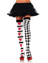Adult Harlequin and Heart Thigh Highs