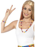 Hippie Peace Sign Necklace & Bracelet Set [44660]