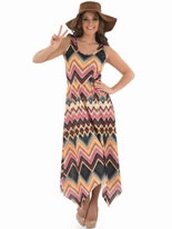 Ladies Hippie Zig Zag Dress Costume [FS3339]