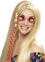 Hippy Party Long Blonde Wig