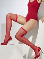Hold Up Fishnet Stockings With Lace Red