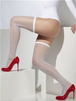 Hold Up Fishnet Stockings With Lace Trim White