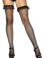 Hold-Up Stockings Black Fishnet
