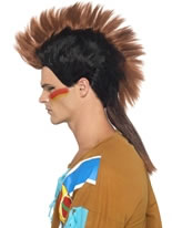 Indian Male Brown Mohican Wig [23516]