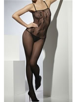 Adult Lace Patterned Crotchless Body Stocking
