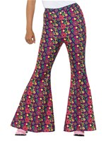Ladies 60s Psychedelic CND Flared Trousers [47451]