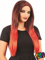 Ladies Black and Red Ombre Wig