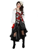 Ladies Black Rose Pirate Dress Costume
