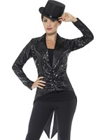 Ladies Black Sequin Tailcoat Jacket [46959]