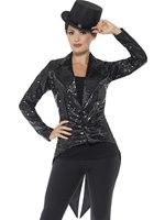 Ladies Black Sequin Tailcoat Jacket