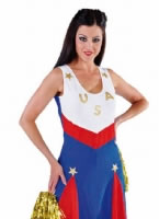 Ladies Deluxe USA Cheerleader Costume