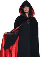 Adult Deluxe Black Velvet & Red Satin Cape