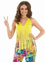 Adult Ladies Fringed Neon Yellow Hippie Top