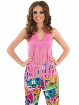 Adult Ladies Fringed Neon Pink Hippie Top