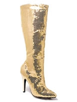 Ladies Gold Sequin Knee Boots [511TINGLD]