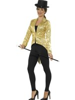 Ladies Gold Sequin Tailcoat Jacket [21229]