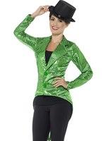 Ladies Green Sequin Tailcoat Jacket