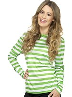 Ladies Green Stripey T-Shirt